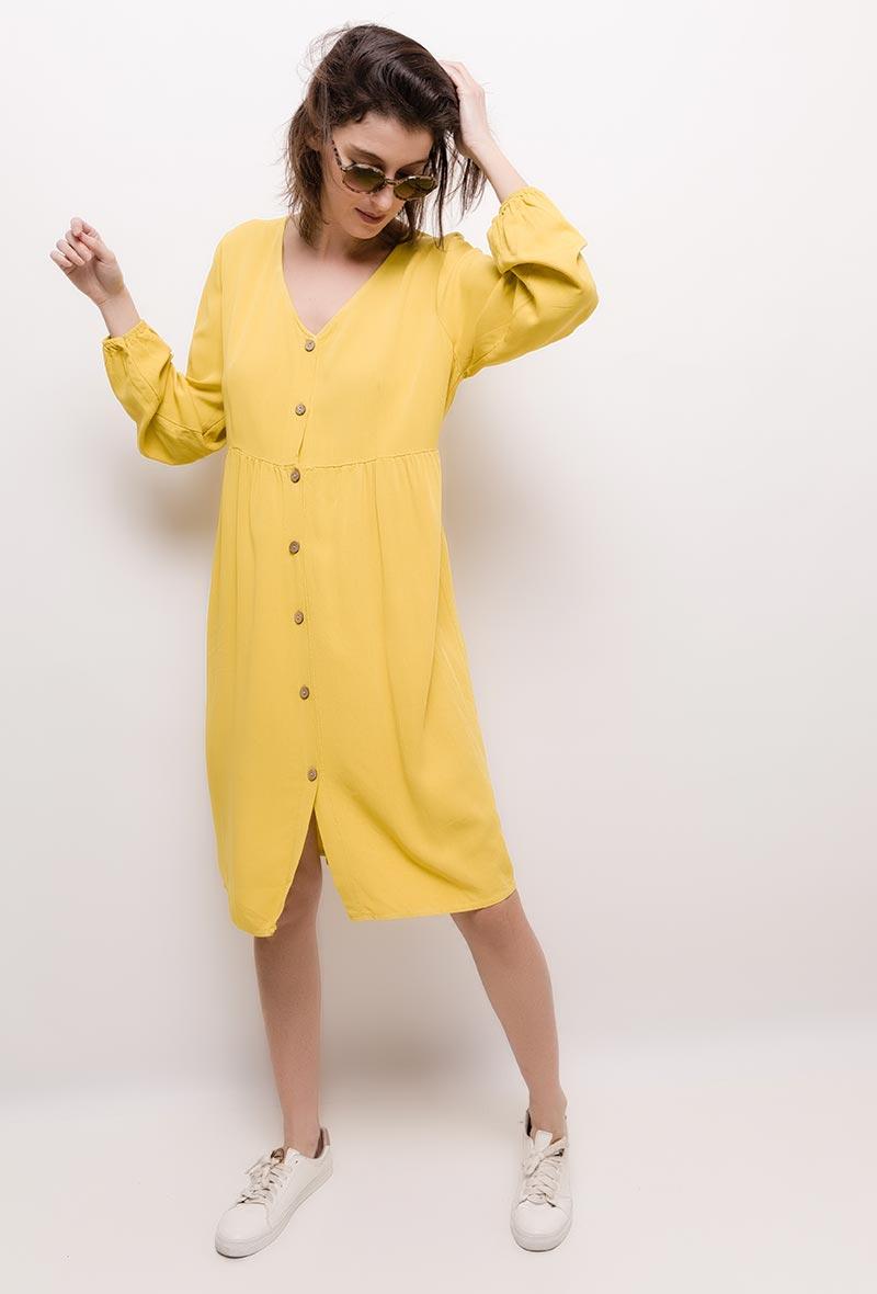 340c5035 Helt enkel kjole med knapper, gul - Tøj, sko, tilbehør - Comfort & Style